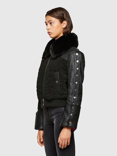 Diesel - L-CELIA-TEDDY, Black - Leather jackets - Image 6