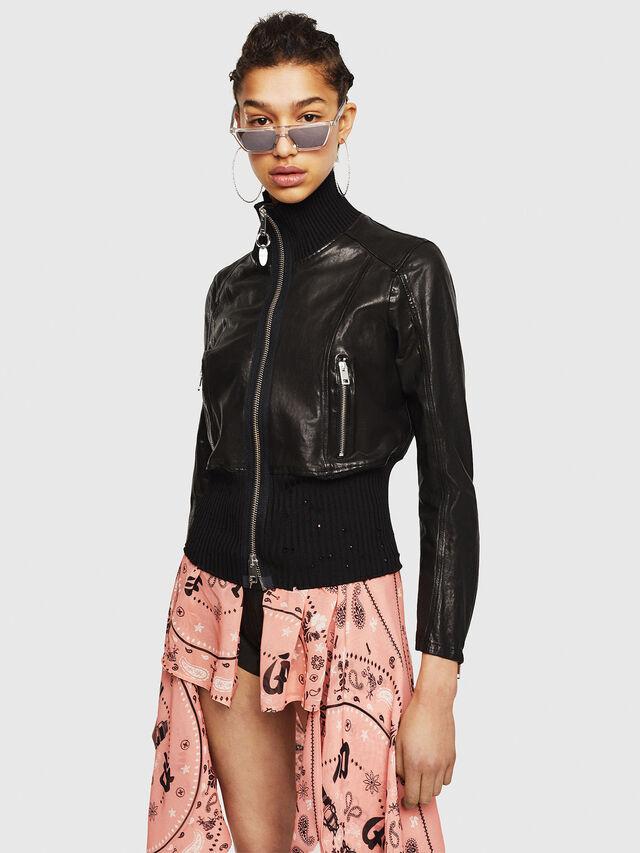 Diesel - L-LYS-B, Black - Leather jackets - Image 1