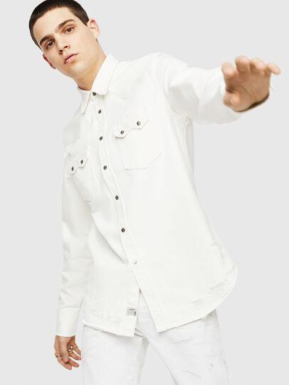 Diesel - D-LEO, White - Denim Shirts - Image 4