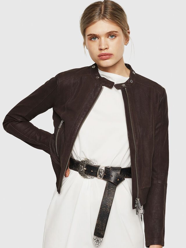 Diesel - L-LYSSA-G, Brown - Leather jackets - Image 5
