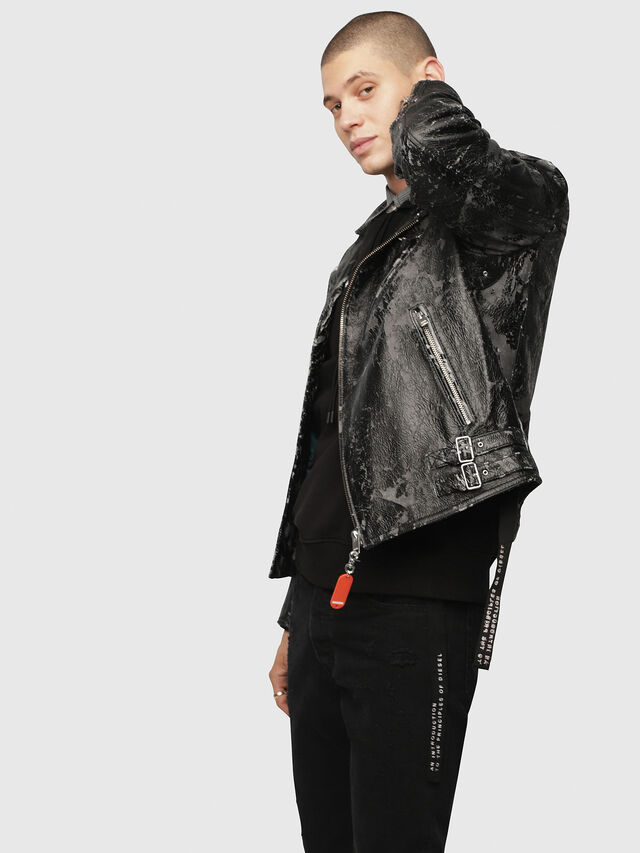Diesel - L-KRAMPIS-A, Black Leather - Leather jackets - Image 3