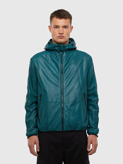 Diesel - L-MATHIAS, Water Green - Leather jackets - Image 1