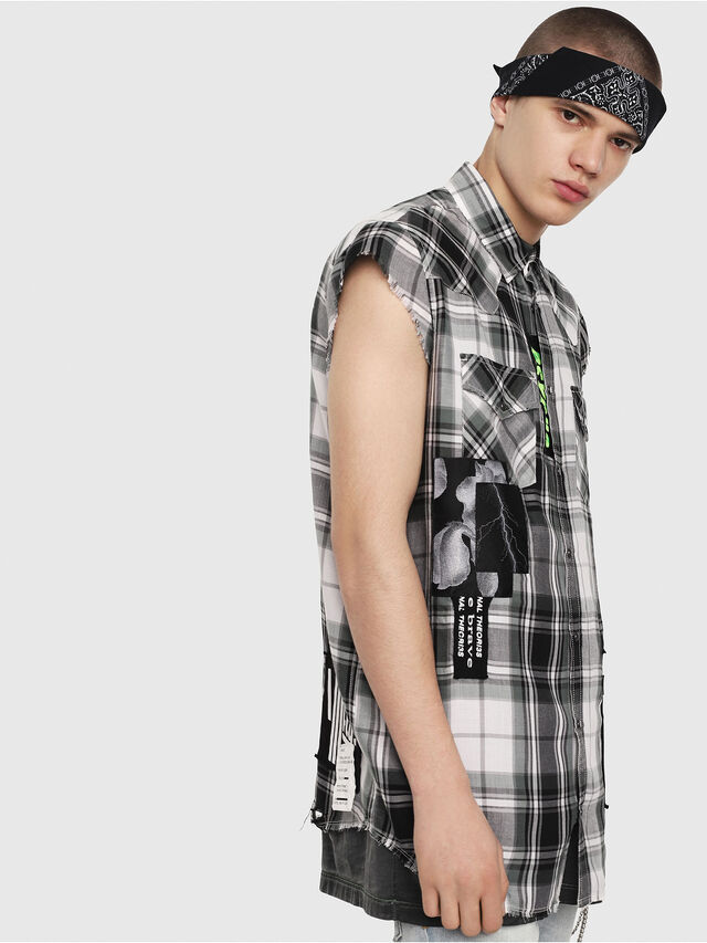 Diesel - S-EAST-LESS, Black/White - Shirts - Image 3