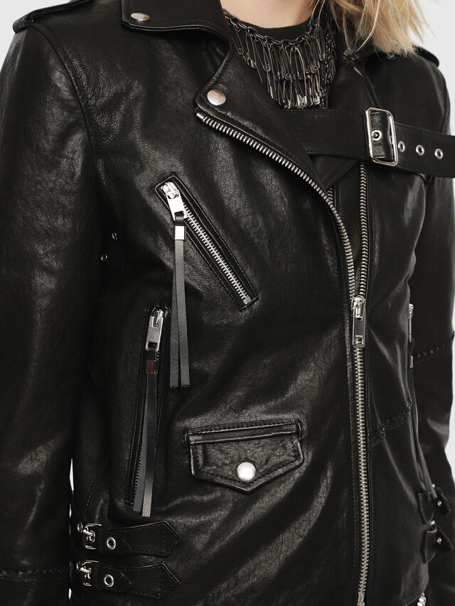 Diesel - SE-LENE, Black Leather - Leather jackets - Image 3