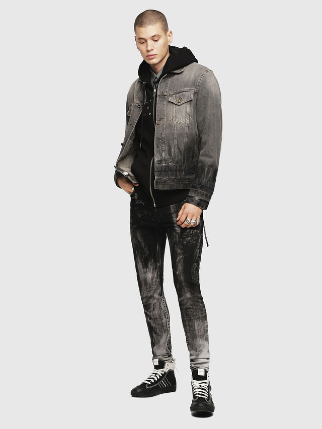 Diesel - NHILL, Black/Dark grey - Denim Jackets - Image 4