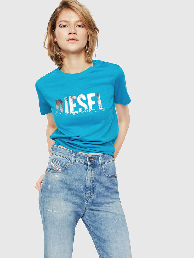Diesel - T-SILY-WH, Turquoise - T-Shirts - Image 1
