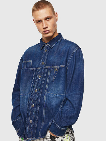 Diesel - D-FLOX, Medium blue - Denim Shirts - Image 1