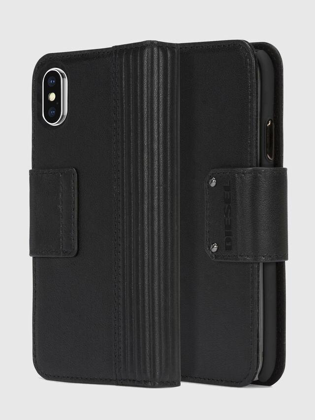Diesel - BLACK LINED LEATHER IPHONE X FOLIO, Black - Flip covers - Image 1