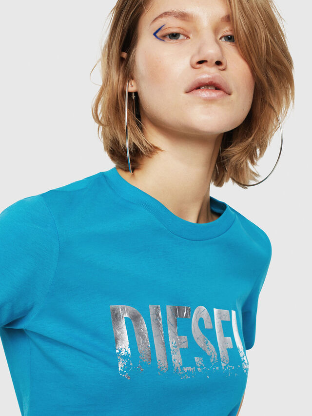 Diesel - T-SILY-WH, Turquoise - T-Shirts - Image 4