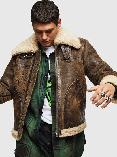 Diesel - L-BALASOVI, Brown - Leather jackets - Image 1