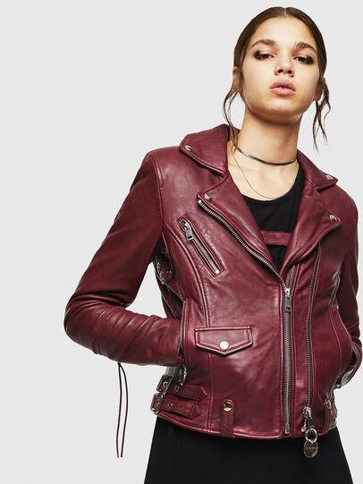 Diesel - L-SINYA-A, Bordeaux - Leather jackets - Image 1
