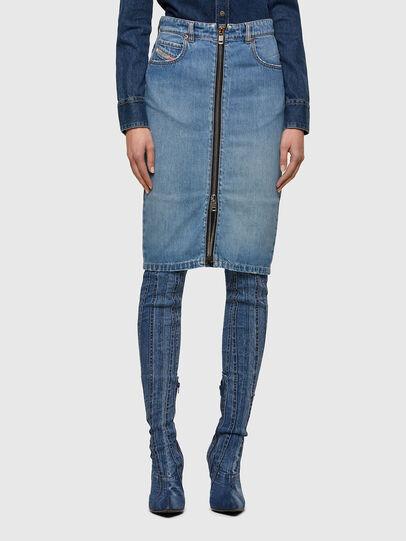 Diesel - DE-PENCIL-ZIP, Light Blue - Skirts - Image 1