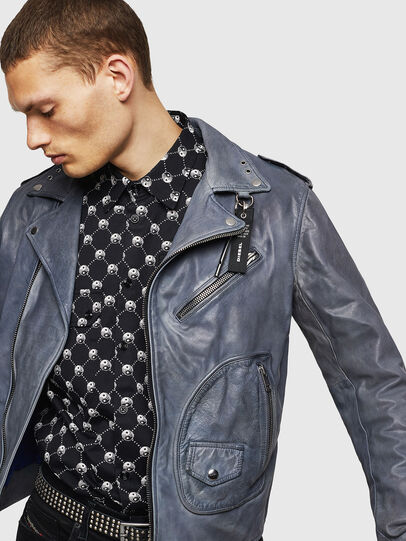 Diesel - L-KIOV, Blue - Leather jackets - Image 8