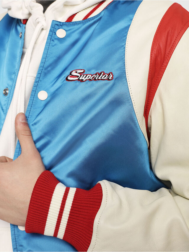Diesel - L-HARU, White/Red/Blu - Leather jackets - Image 3