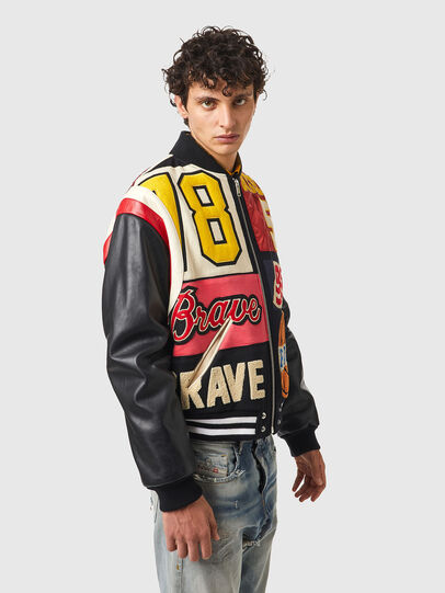 Diesel - L-KEIR, Black/Red - Leather jackets - Image 4