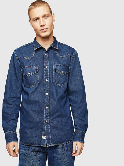 Diesel - D-EAST-P, Medium blue - Denim Shirts - Image 1