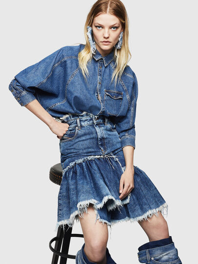 Diesel - DE-NOVA, Medium blue - Denim Shirts - Image 4