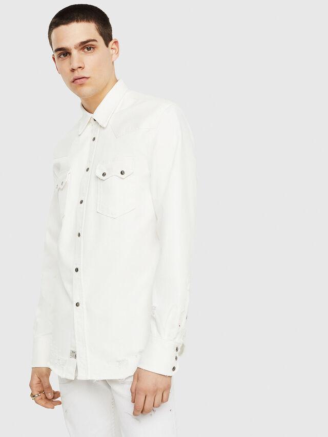 Diesel - D-LEO, White - Denim Shirts - Image 1