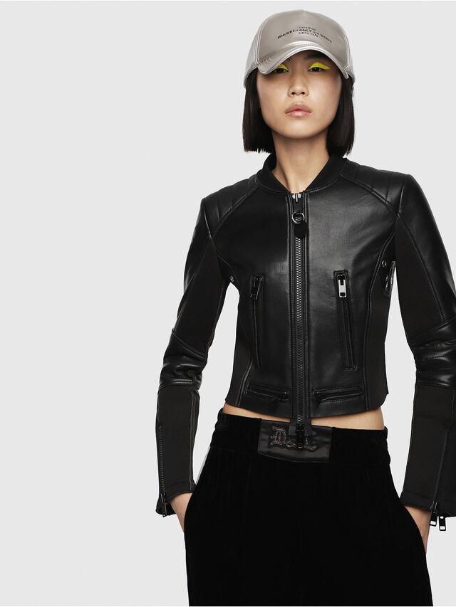 Diesel - L-MARI, Black Leather - Leather jackets - Image 1