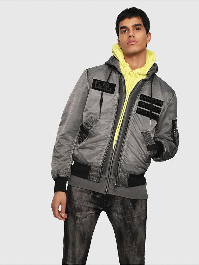 Diesel - J-KUNIO, Gray/Black - Jackets - Image 1