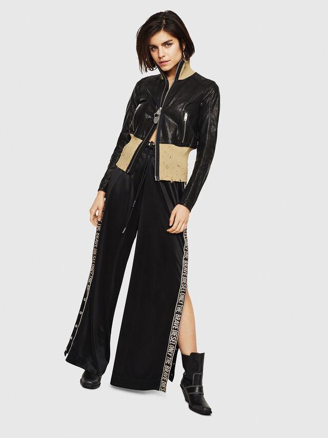 Diesel - L-LYS, Black/Beige - Leather jackets - Image 5
