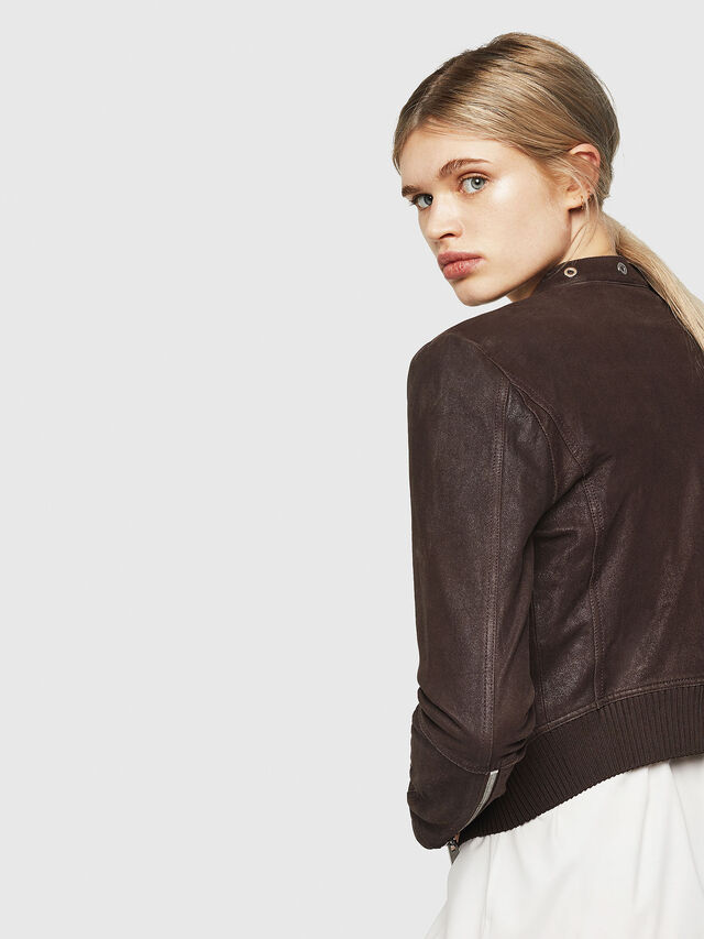 Diesel - L-LYSSA-G, Brown - Leather jackets - Image 3