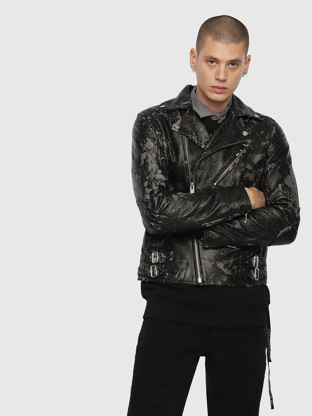 Diesel - L-KRAMPIS-A, Black Leather - Leather jackets - Image 1