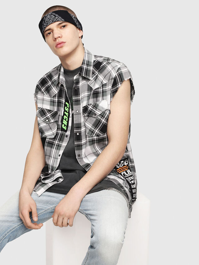 Diesel - S-EAST-LESS, Black/White - Shirts - Image 1