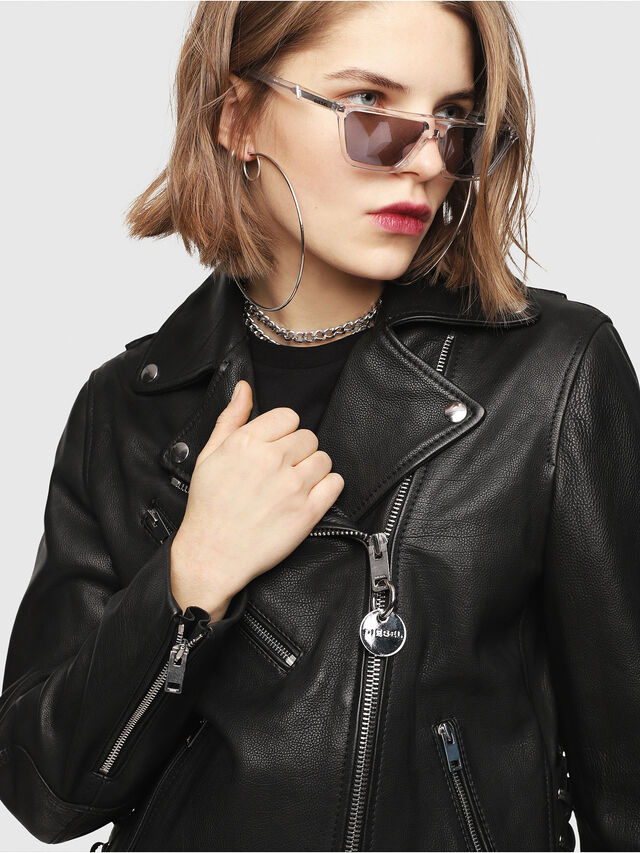 Diesel - CL-L-GOLY, Black Leather - Leather jackets - Image 5