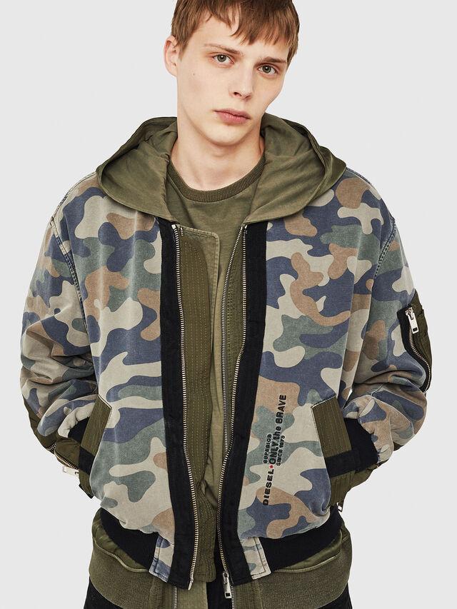 Diesel - D-AZLEY JOGGJEANS, Green Camouflage - Denim Jackets - Image 1