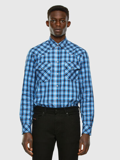 Diesel - S-EAST-LONG-O, Blue/White - Shirts - Image 4