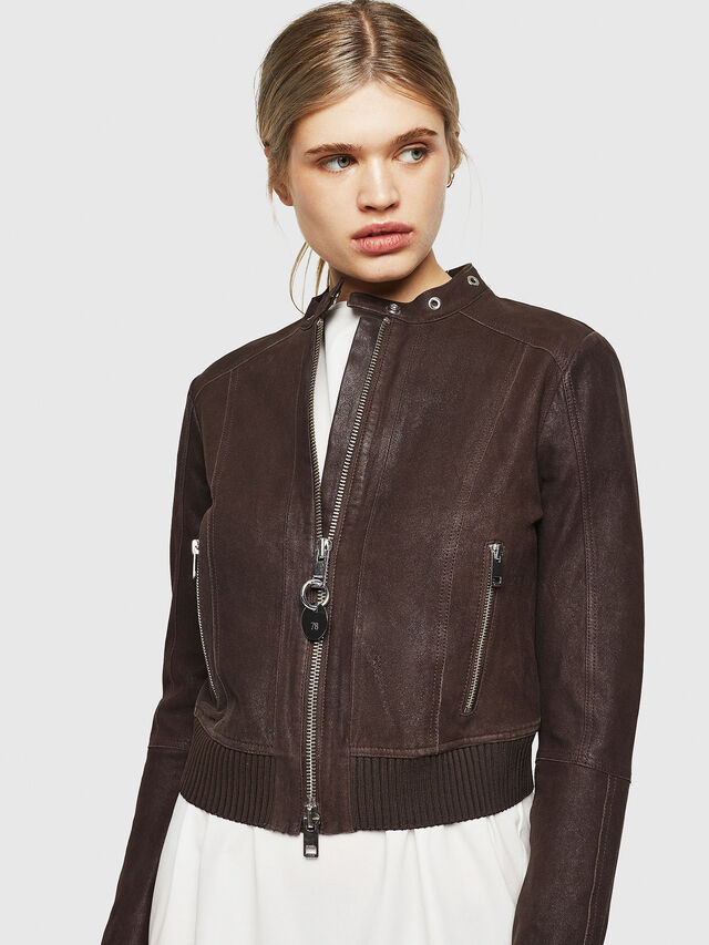 Diesel - L-LYSSA-G, Brown - Leather jackets - Image 1