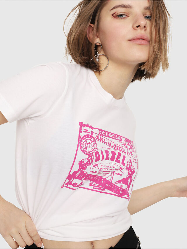 Diesel - T-SILY-C3, White/Pink - T-Shirts - Image 3
