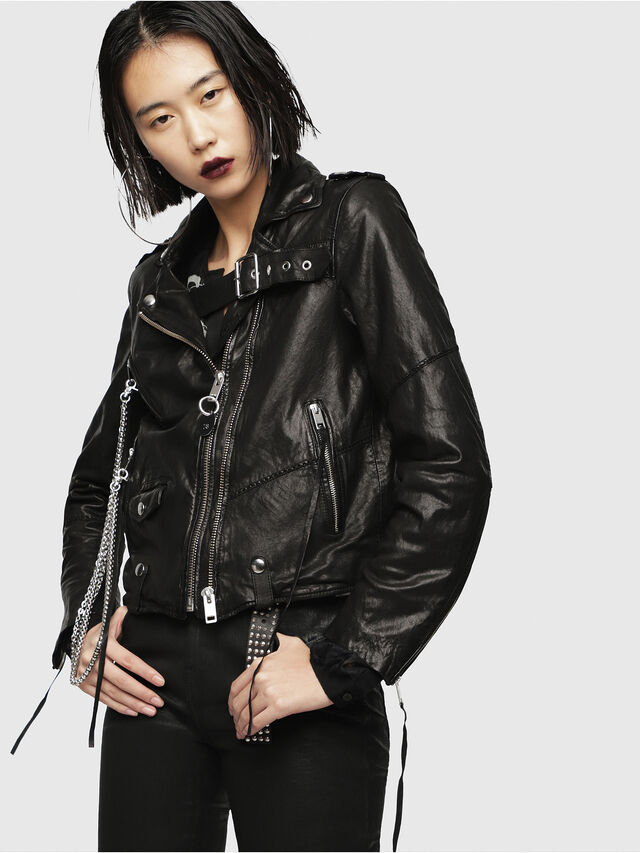 Diesel - L-TERRY-B, Black Leather - Leather jackets - Image 1
