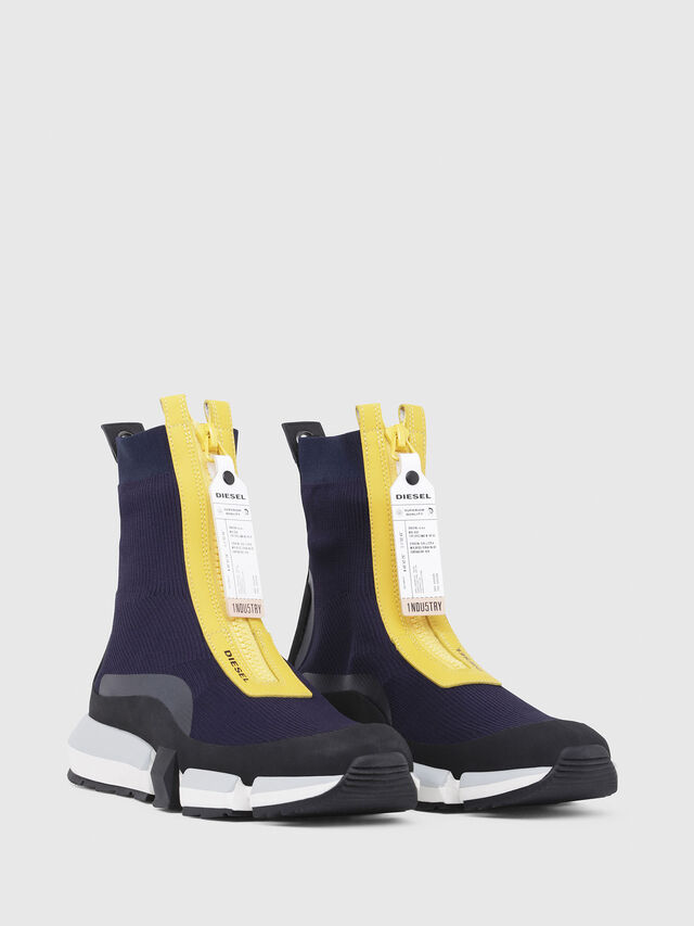 Diesel - H-PADOLA MID ZIP, Blue/Yellow - Sneakers - Image 2