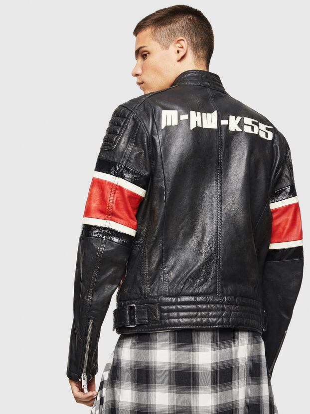 L-ROURKE, Black/Red - Leather jackets