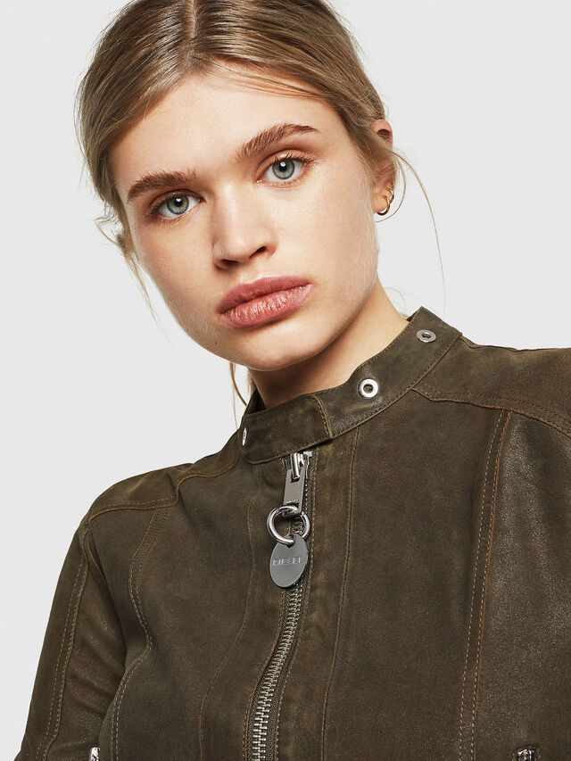 Diesel - L-LYSSA-G, Military Green - Leather jackets - Image 3