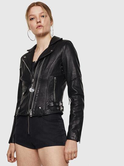 Diesel - L-SINYA-A, Black - Leather jackets - Image 1