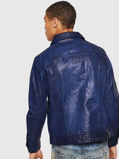 Diesel - L-NHILL, Blue - Leather jackets - Image 2