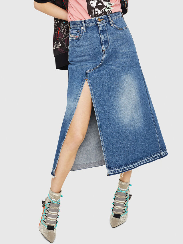 Diesel - DE-VYVIEN, Medium blue - Skirts - Image 1