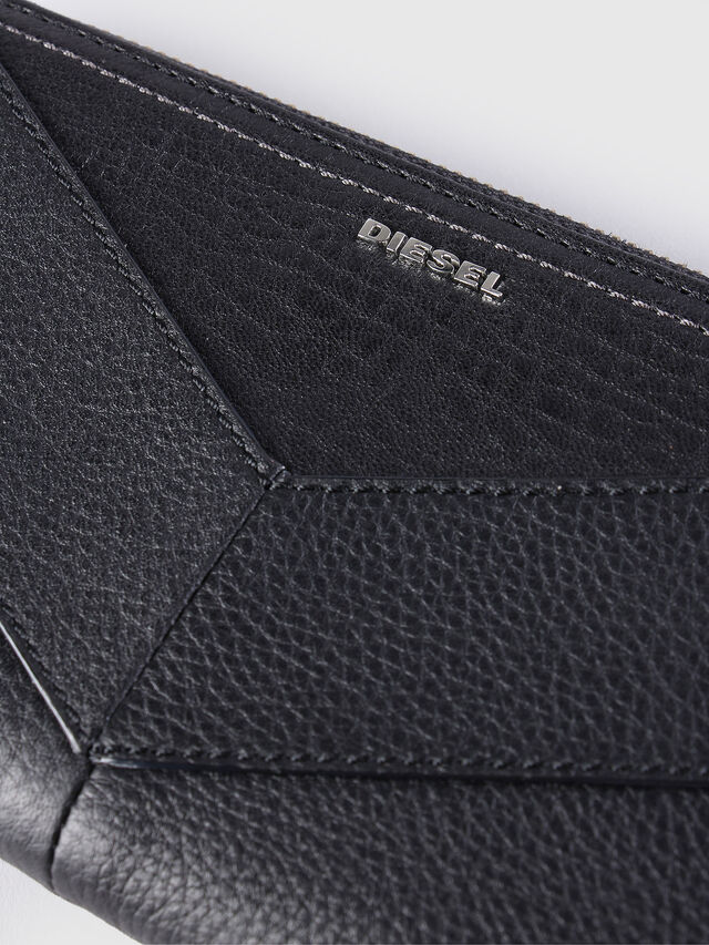 Diesel - GRANATO, Black Leather - Zip-Round Wallets - Image 3