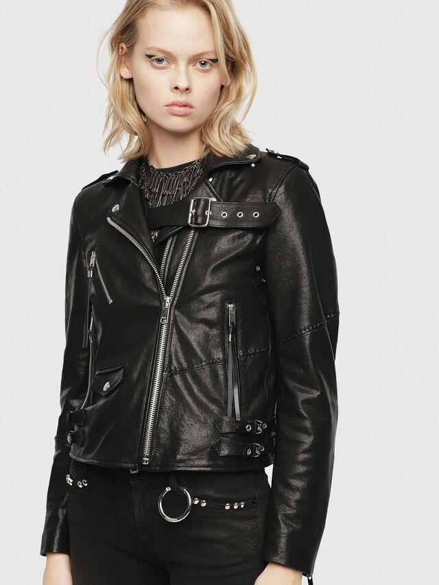 Diesel - SE-LENE, Black Leather - Leather jackets - Image 1
