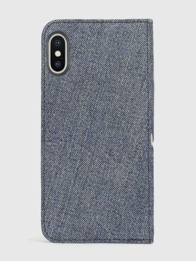 Diesel DENIM IPHONE X FOLIO, Blue Jeans - Flip covers - Image 3